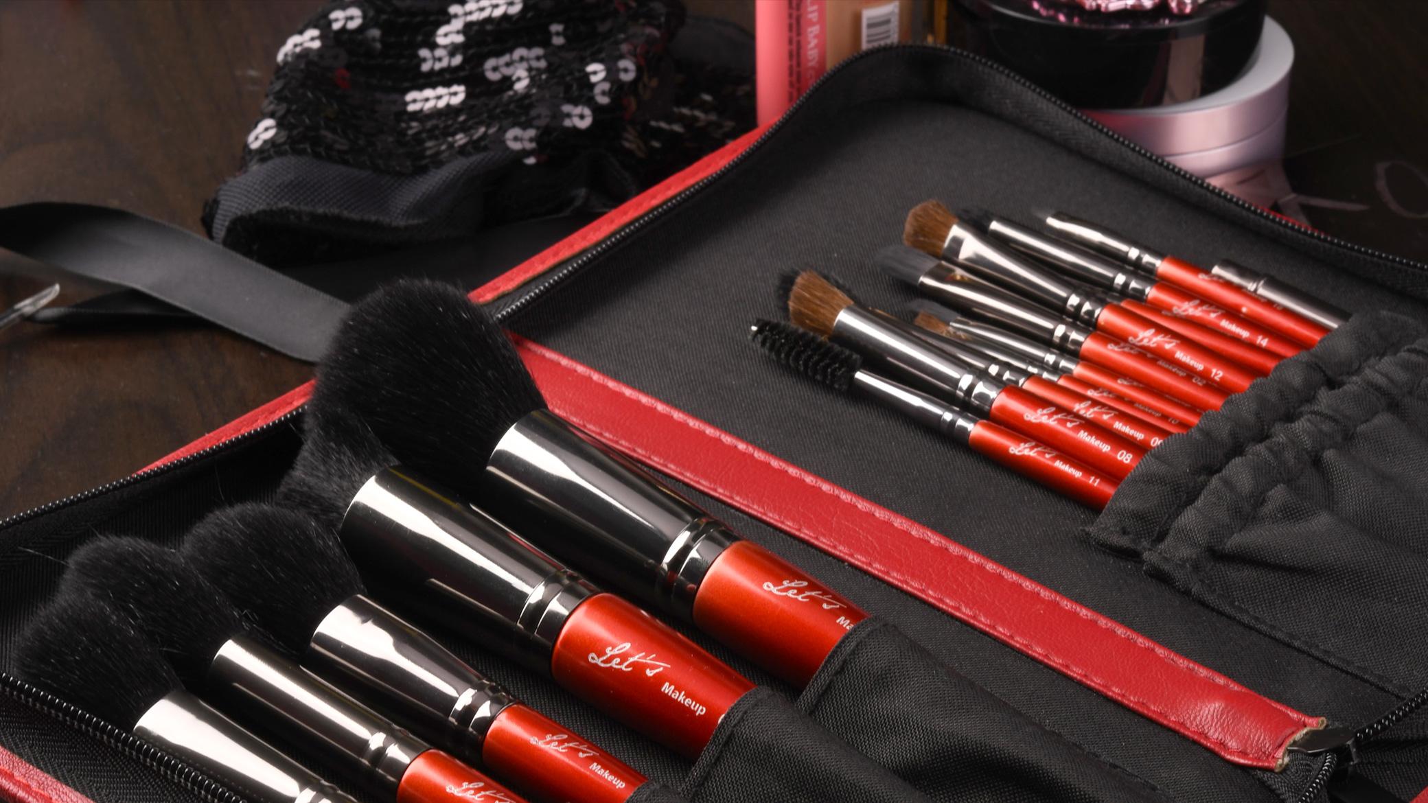 Lets makeup professional makeup brush photoshoot with zip bag